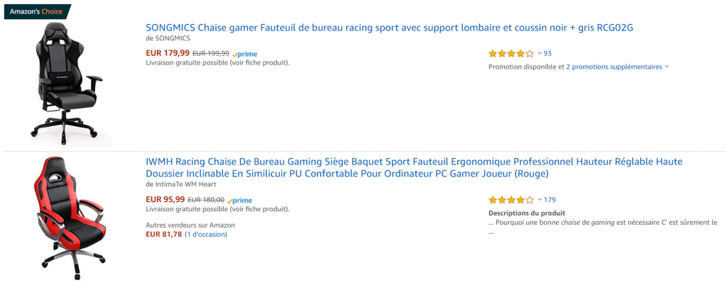 chaise gaming sur amazon